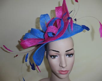 Large Fascinator,Fushia and Bright Blue Fascinator,Fascinator,Wedding Hat,Ascot Race Hat,Occasion Hat ,Pink and Blue Fascinator