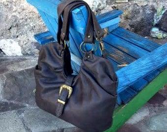 Brown Leather Hobo Bag