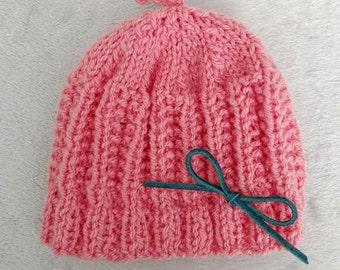 Crochet hat, crochet baby hat, newborn hospital hat, pink baby hat, baby girl hat, pink crochet hat, newborn hospital hat, suede bow hat