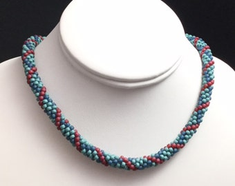 Teal, Aqua and Red Argyle Beaded Necklace