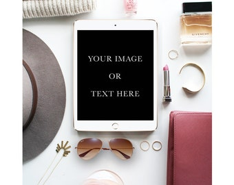 Chic flat lay, Mock up scene with iPad design, blogging or social media, Styled Photography