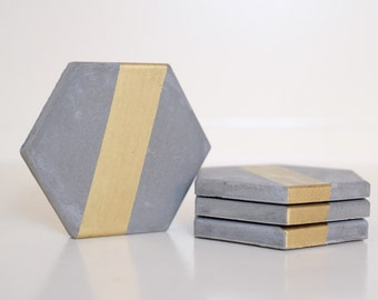 Modern Hex Concrete Coasters, set of 4 with gold leaf paint stripe