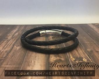 Round braided wrap bracelet, doubles as choker necklace