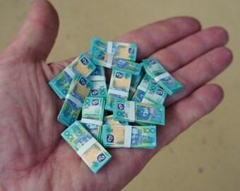 1/6 Scale Miniature Play Money Australian 100 Dollar Notes