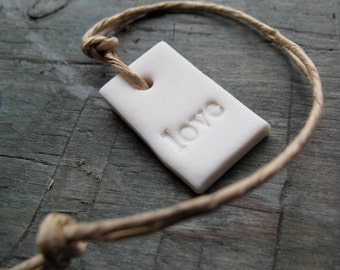White Love Tag - Handmade in porcelain - Gift Wrapping - Gift for a Bride - Token -