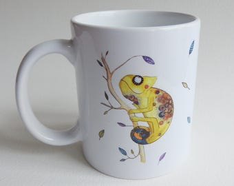 Chameleon Mug - Ceramic Mug - Chameleon - Funny Mug - Cute Mug - White Mug - Animal Mug - Coffee Mug - Tea Mug - Cute Chameleon