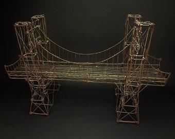 Vintage Brutalist / Outsider / Folk Art Large Wire Brooklyn Bridge Sculpture