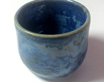 Small Hand Thrown Fine Art Saki Cup With Homemade Crystal Glaze. #9