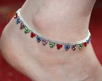 Stunning Diamante Anklet/Multi Coloured Anklet/Bollywood Anklet/Indian wedding Payal/Ankle Foot Bracelet/ single or pair