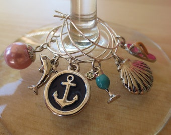 Beach Party wine charms - set of 6