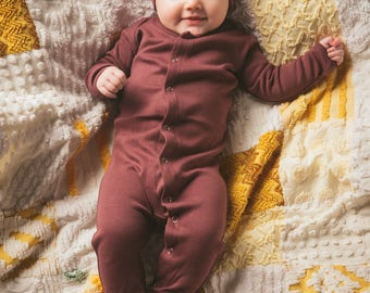 L'oved Baby Organic Footed Overall (Eggplant, Mauve, Seafoam, Stone, Stripe)