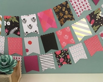 Paper Banner, Paper Bunting, Flag Banner, Flag Bunting, Flower Banner, Flower Bunting, Photo Prop, Pink Banner, Pink and Black Decor