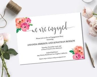 Floral Wedding Engagement Party Invitation - We're Engaged - Printable Engagement - Boho Bride Engagement  - Downloadable wedding #WDH0116