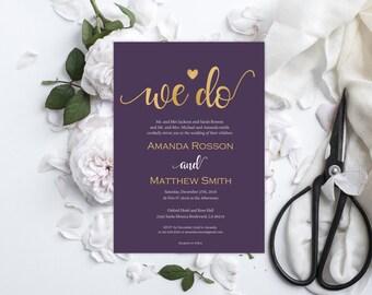 Printable Wedding Invitation - Wedding Invitation Template - Editable - Plum and Gold Wedding Invitations - Downloadable Wedding #WDH0175
