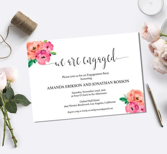 Floral Wedding Engagement Party Invitation - We're Engaged - Printable Engagement - Boho Bride Engagement  - Downloadable wedding #WDH0116