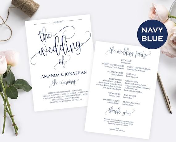 Wedding Program Template - Navy Blue Wedding Decorations - Instant Download Wedding Program - Editable text - Downloadable wedding #WDH0118