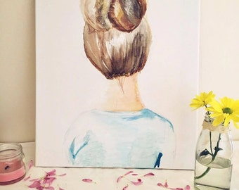 little shy girl - Watercolor / Aquarell Painting