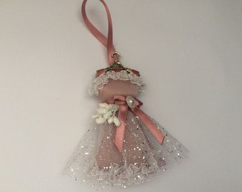 Fridge Magnet & Christmas decorations in one! Motif prom dress with dark-roza, 12 cm, UNIQUE hanger!