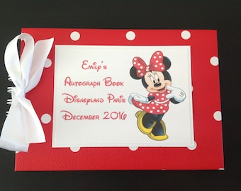 Personalised Minnie Mouse DISNEYLAND - DISNEY WORLD - Autograph Book - Scrapbook - Memories Book - Photo Book - More Characters Available