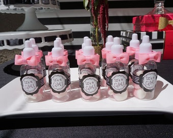 It a Girl Baby! Bottle Favors with Pink Bow