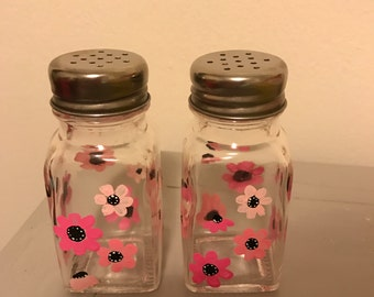 Hand painted Pink Flower Salt and Pepper Shakers