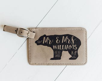 Personalized Luggage Tag, Leather Luggage Tag, Wedding Gift, Bear, Monogram Luggage Tag Personalized Mr and Mrs Luggage Tag Custom Bag LT27