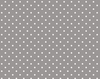 NEW Collection Les Petits by Amy Sinibaldi for Art Gallery Fabrics-Dots White on Gray-Basic Fabric