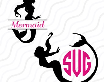 Mermaid SVG, Split Mermaid SVG, Mermaid Monogram SVG Cut table Design,svg,dxf,png Use With Silhouette Studio & Cricut_Instant Download