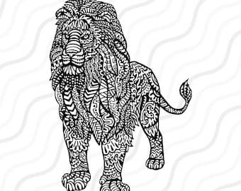Ethnic Lion SVG, Zentangle Lion SVG, Lion SVG Cut table Design,svg,dxf,png Use With Silhouette Studio & Cricut_Instant Download