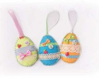 Easter eggs Easter decorations Easter home decoration Hanging egg Easter ornaments Easter hanging decor party Easter felt ornaments Set of 3