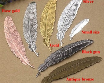 10pcs-silver/gold plated/antique bronze/black gun/rose gold color Copper filigree charms for jewelry making, metal feather charms ET0256