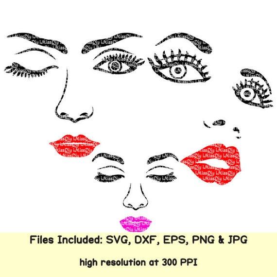 Kiss And Makeup Svg: Womens Woman Faces Svg Lips Eyelash Eyes Mom Girl Makeup