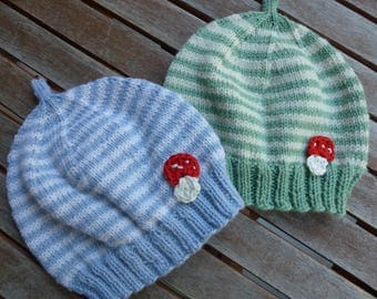 Baby Hat baby Merino Wool striped Hat color and size can be selected.