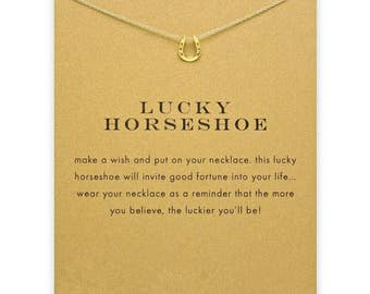 Gold Lucky Horseshoe Pendant Necklace, Encouragement Jewelry and Personalized Card