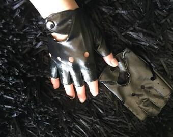 Women's punk gloves, fingerless faux leather Mittens, Biker gloves