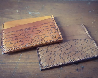 Two Slot Card Holder with Note Pocket, Leather Gift, Vintage look leather, Gift for Men