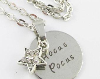 Rhinestone Magic Star Hocus Pocus Message Charm Necklace 45cm Silver Tone Chain