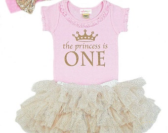 First Birthday Outfit, 1st Birthday Outfit Girl, One Birthday, Girls Gold Pink Birthday, Birthday Princess, Gold Sparkle Tutu