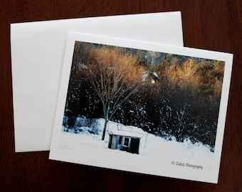 Winter note cards 12 landscape winter blank photo cards, winter scene in beautiful Maine, standard size 4.25 x 5.5 with envelopes