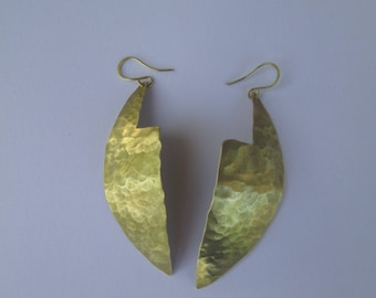 """Earrings """"lenga lenga"""" brass, brass pounded on anvil, ethnic, tribal, design influences, texture work."""