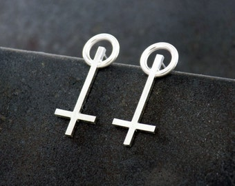 Geometric Sterling Silver Earrings by Navillus Metal Works Clean, Simple, Modern,