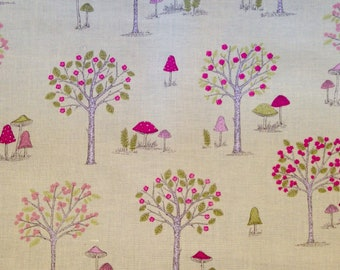 Hand Drawn Style Tree and Flower Woodland Fabric