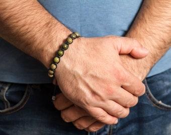 Unakite men bracelet, healing stone men. Beaded bracelet men, Healing bracelet men. Heart chakra bracelet