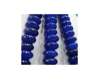 sapphire blue rondelle, blue agate rondelles, electric blue beads, blue rondelle beads, smooth blue beads, sapphire blue