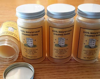 Creamed Honey 12 oz Local Natural from Ohio in (2) 6 ounce Jars Spun Whipped