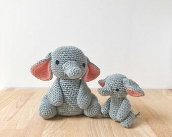 ELEPHANT PAIR crochet elephant, amigurumi elephant, baby gift, gift for kids, crochet toy, nursery decoration, baby shower gift