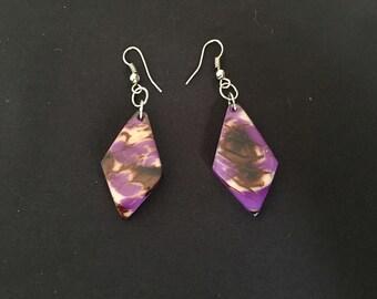 Purple Tagua Nut Earrings / Organic Jewelry