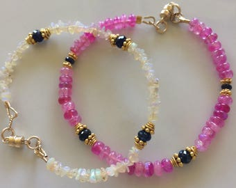 Moonstone with sapphire bracelet.