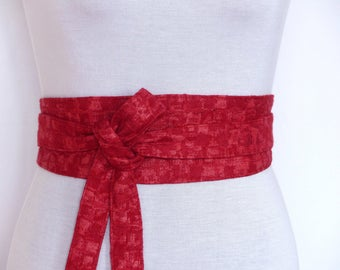 Jacquard Damasse Haute Couture Reversible Waist belt, Obi style