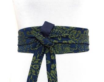2 different sides, Plain & Brocade, Reversible Obi Belt, Wide wrap belt, Waist Blue Green japanese kimono navy khaki olive